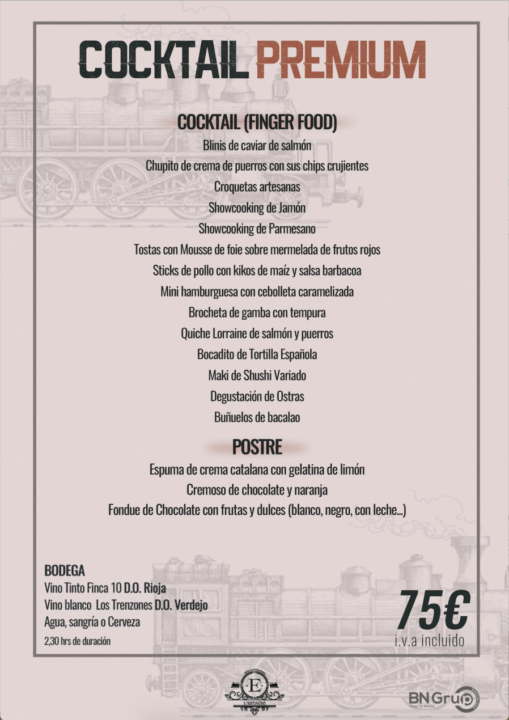 75 menu COCKTAIL Estacio